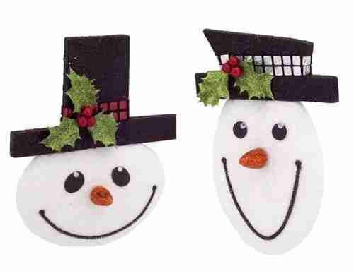 Black and White Smiling Snowman Ornaments 8inch Pack of 12