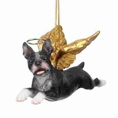 Boston Terrier Holiday Dog Angel Ornament