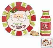 Cookies For Santa Christmas Gift Set with Plate and Milk Bottle