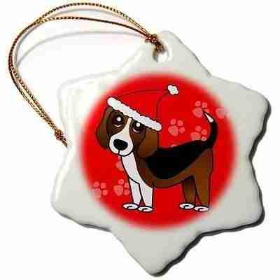Dog with Santa Hat, Snowflake Ornament, Porcelain, 3-inch
