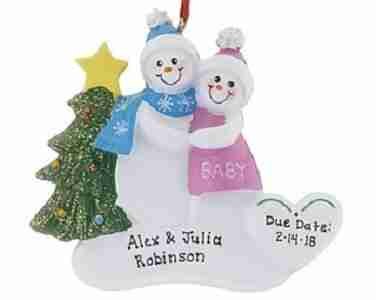 Expecting Snowman Couple Christmas Ornament