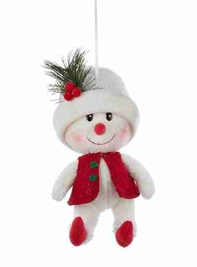 Red and White Snowman with White Hat Decorative Christmas Ornament