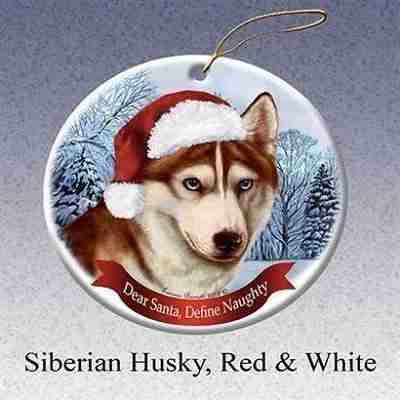 Siberian Husky Red and White Santa Hat Dog Porcelain Christmas Tree Ornament