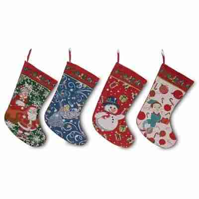 16.5 Inch Set of 4 Mr. and Mrs. Claus, Angel, Elf and Snowman Christmas Stockings