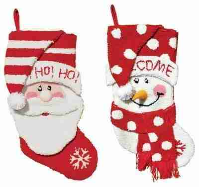 >18.5 inch Hooked Santa and Snowman Stockings, Set of 2