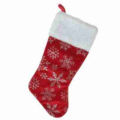 18.5 Inch Red Velvety Christmas Stocking with Glitter Snowflakes and Plush White Cuff