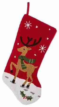 19 Inch L Hooked Stocking, Reindeer