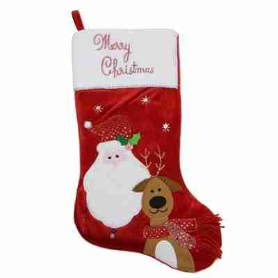 20 inch Embroidered Red Velveteen Merry Christmas Santa Claus and Reindeer Stocking