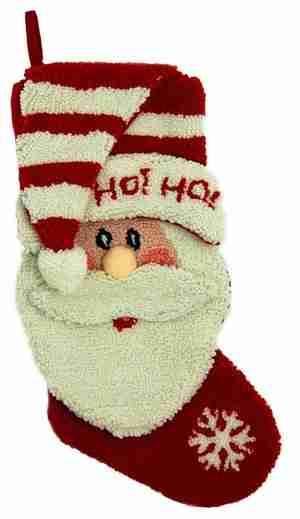 3D Santa Hooked Christmas Stocking