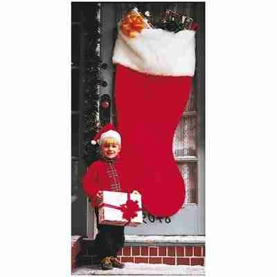 60 inch regal jumbo red plush Christmas stocking with a white extended cuff