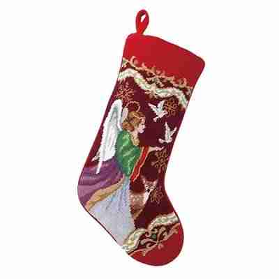 Christmas Angel Needlepoint Stocking, 11 x 18 Inch