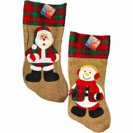 >Christmas Burlap Snowman and Santa 17 Inch Stockings 2 per pack