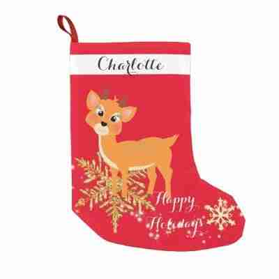 >Cute Festive Baby Reindeer Small Christmas Stocking