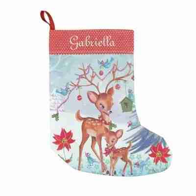 Deer Christmas Birds Christmas Stocking