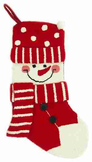 Hooked Christmas Stocking With 3D Snowman