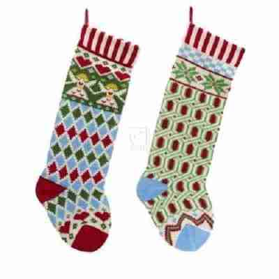 Multi-Color Angel and Snowflake Knit Stockings - 2 Assorted