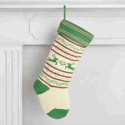 Red and Green Reindeer Knit Holiday Stocking