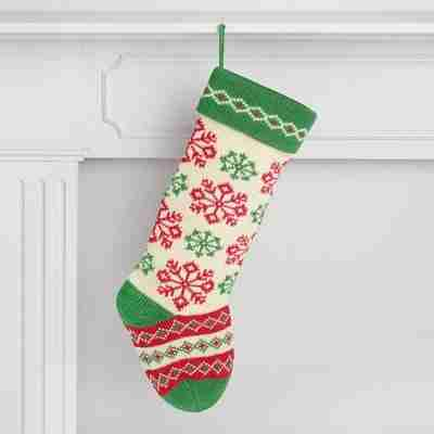 >Red and Green Snowflake Knit Holiday Stocking
