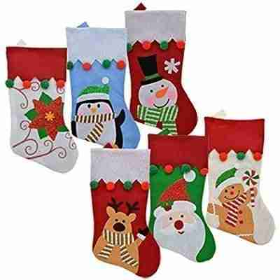 Set of 6 Pack Christmas House Felt Christmas Character Stockings with Pom-Pom Embellishments, 18 inch