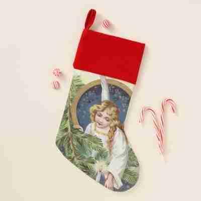 Vintage Festive Christmas Holiday Angel stocking