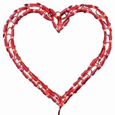 12 inch Red Heart Window Decoration With 50 Mini Lights