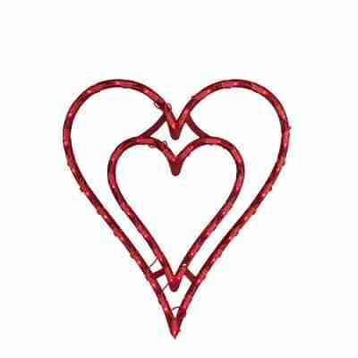 17 inch Lighted Valentine's Day Double Heart Window Silhouette Decoration