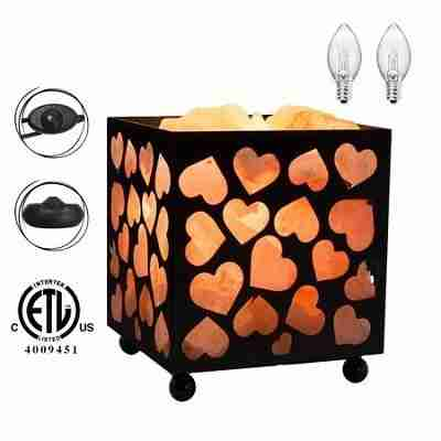 Natural Salt Lamp, Heart Design Metal Basket Night Light