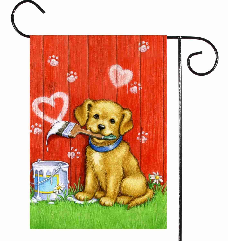 Valentine Garden Outdoor Flag Puppy