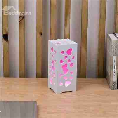 Wood-Plastic Hollowed-out Heart-Shaped European Style LED Lamp