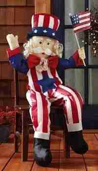 stuffable uncle sam patriotic outdoor welcome greeter