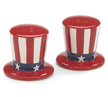 Patriotic Uncle Sam Hats USA Flag Salt and Pepper Shakers