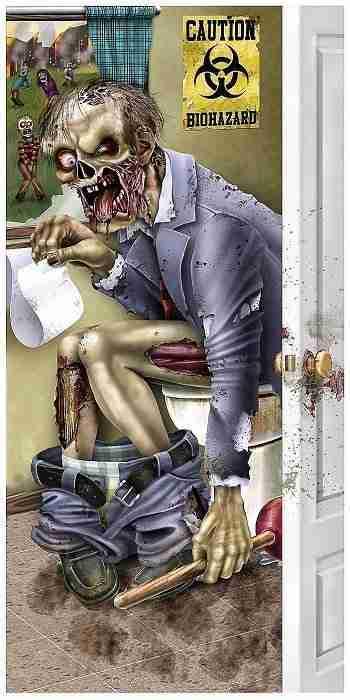 5 Ft Zombie Bathroom Door Cover