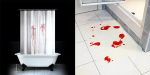4 must have scary zombie decor items for bathroom bath and shower accessories bloody shower curtain and