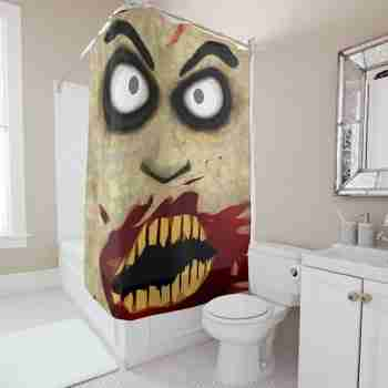 Frightening Zombie Face Shower Curtain