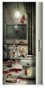 Halloween Creepy Crapper Restroom Door Cover