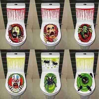 Halloween Decoration 3D Toilet Wall Sticker Home Decor Mural Party Art