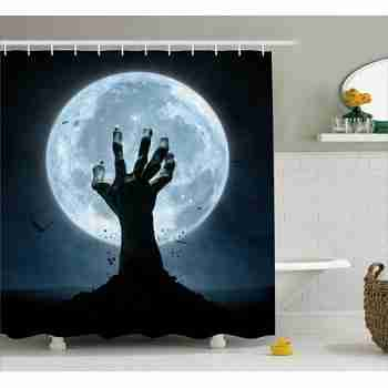 Zombie Earth Soil Full Moon Bat Horror Story October Twilight Themed, Fabric Bathroom Set with Hooks, 69W X 70L Inches