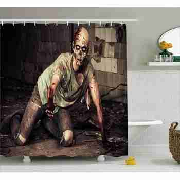 Zombie Shower Curtain, Halloween Scary Dead Man in the Old Building with Bloody Head Nightmare Theme, Fabric Bathroom Set with Hooks