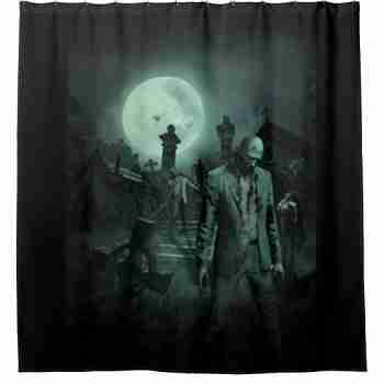 Full Moon Zombies Shower Curtain