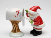 3.25 inch Santa Claus Checking The Mailbox Salt And Pepper Shakers
