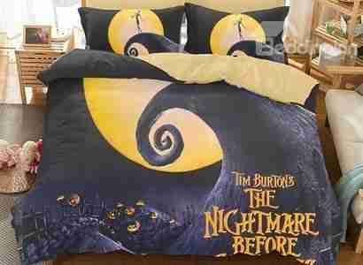 3d halloweens nightmare before christmas polyester 3 piece bedding setsduvet covers