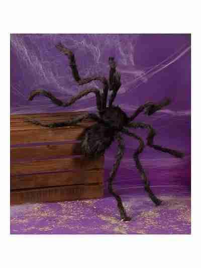 50 Inch Hairy Black Spider with Adjustable Legs
