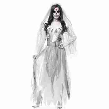 Adult Women's White Grey Zombie Ghost Bride Costume Dress