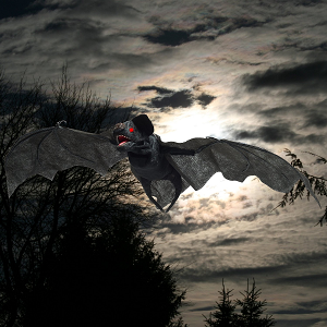 Animated Hanging Bat (30 inches Wing Span) Halloween Decoration with Maniacal Laugh and Screams!