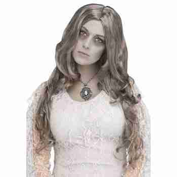 Ghost Spirited Silver Lady Ghostly Haunted Long Wavy Hair Wig Costume Accessory