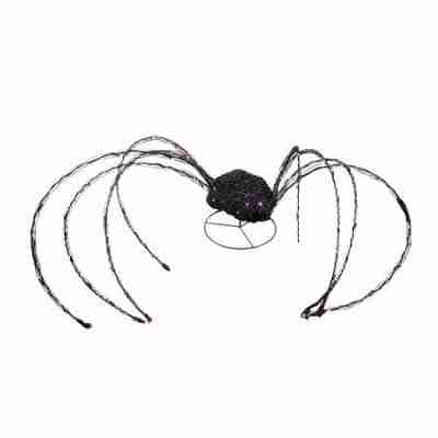Giant 98 inch LED Lighted Spooky Halloween Spider Outdoor Decoration with Blinking Purple Light