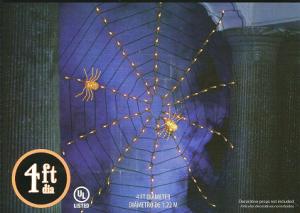Halloween Orange 4 Ft Spider Web Set with 100 Lights