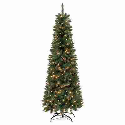 7.5ft Pre-Lit Hinged Fir Artificial Pencil Christmas Tree