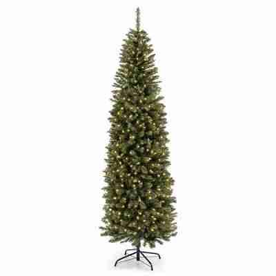 7.5ft Pre-Lit Premium Hinged Fir Pencil Artificial Christmas Tree