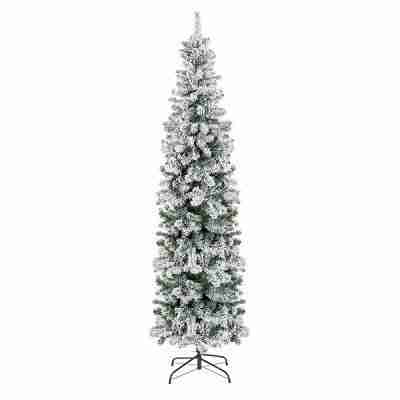 7.5ft Snow Flocked Artificial Pencil Christmas Tree with Stand